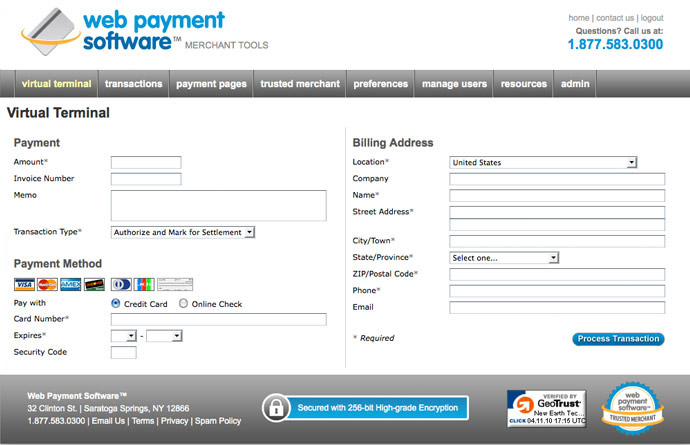 Pay online with credit card