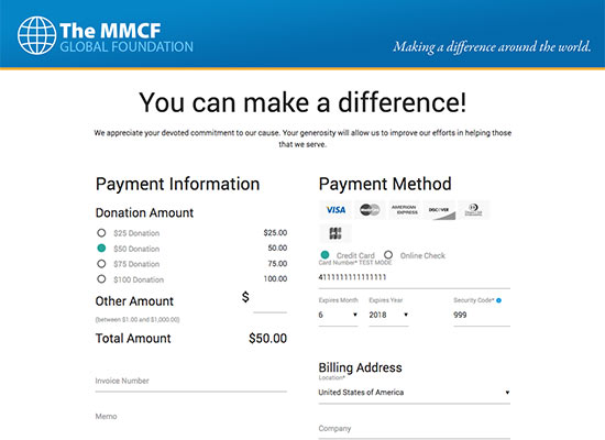 Sample Donation Payment Page