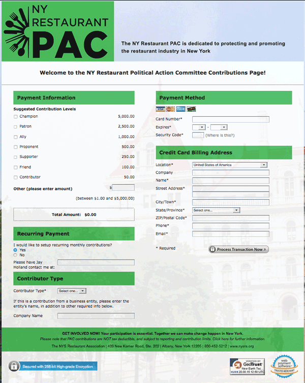 political action committee payment page for the NYS Restaurant Association