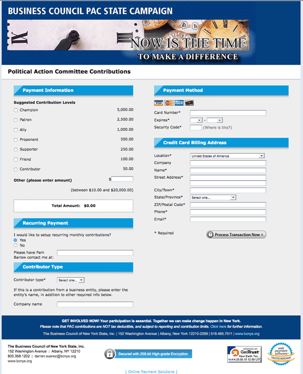 political action committee payment page for the business council of NYS